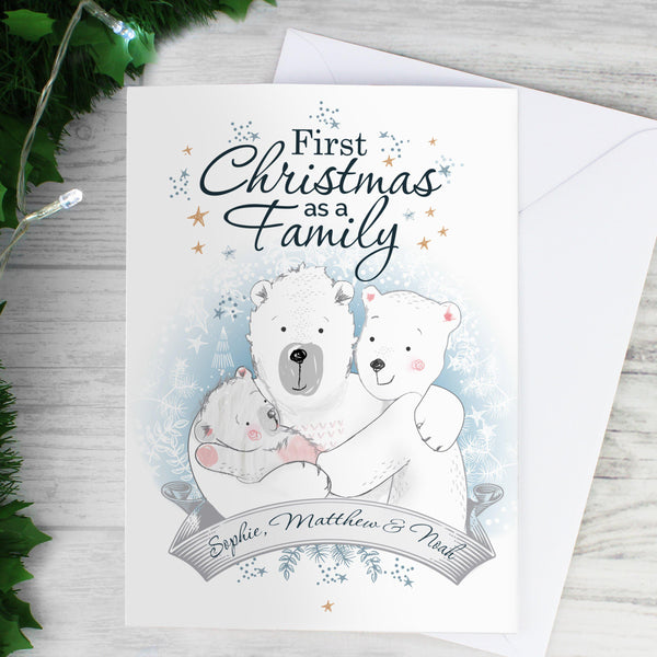 Personalised Polar Bear '1st Christmas As A Family' Card - Beautiful Christmas Scene Featuring  Family Of Bears