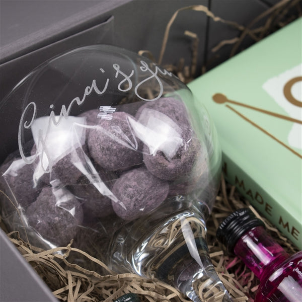 Gin For One Hamper - Close Up Of Balloon Glass With Truffles In