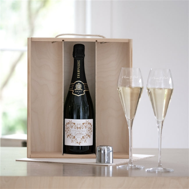 Golden Wedding Champagne Three Paneled Gift Box Set