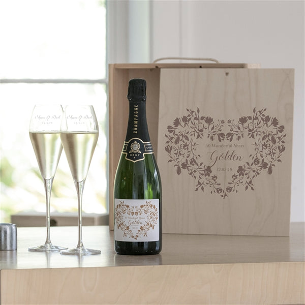 Golden Wedding Champagne Box Set Which Includes Champagne, Two Champagne Glasses Encased In A Fitting Wooden Gift Box