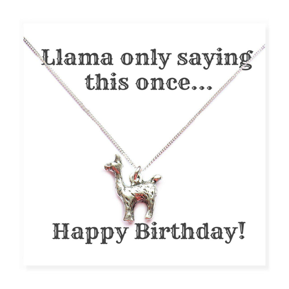 Happy Birthday Llama Necklaces on Funny Message Card
