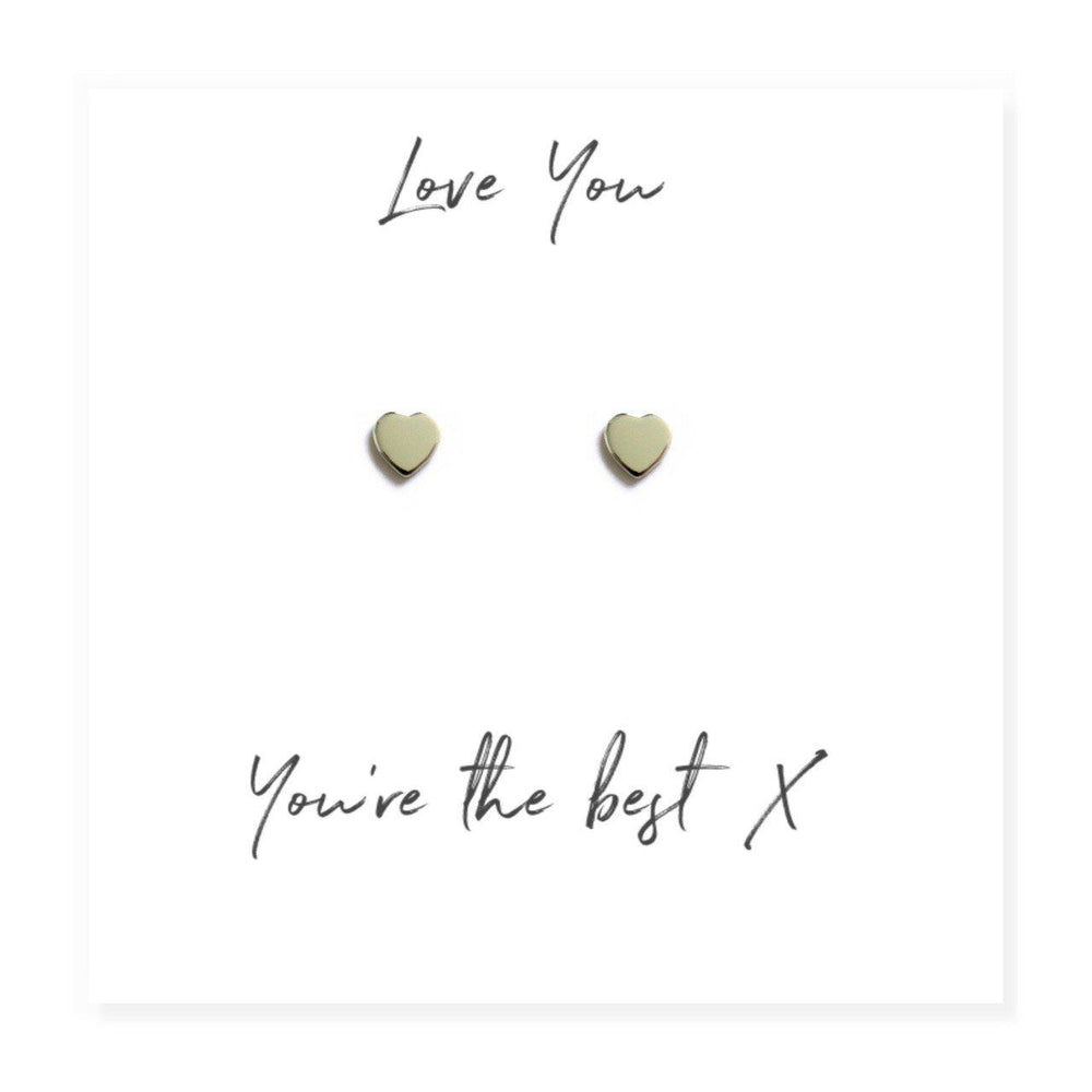 "Heart Earrings with different card messages - Message Reads ""Love You You're The Best"""