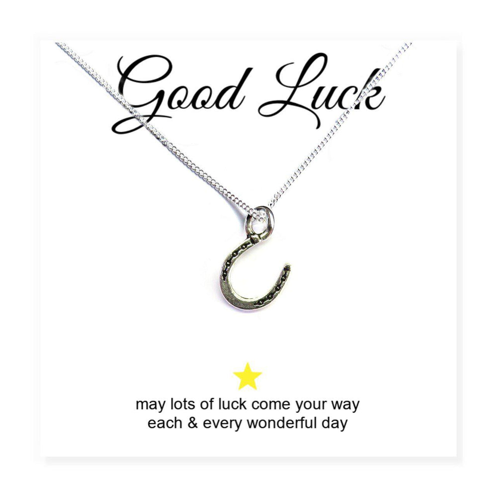 "Horseshoe Charm Necklace on Good Luck Message Card Which Reads Good Luck ""May Lots Of Luck Come Your Way Each & Every Wonderful Day"""