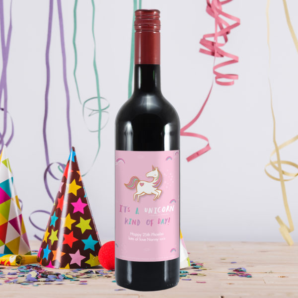 HotchPotch Unicorn Kind Of Day Red Wine Standing On A Table With Party Decorations