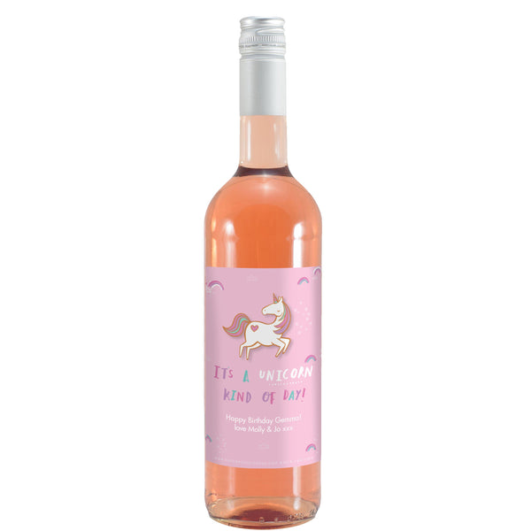 HotchPotch Unicorn Kind Of Day Rose Wine Personalised For Gemma