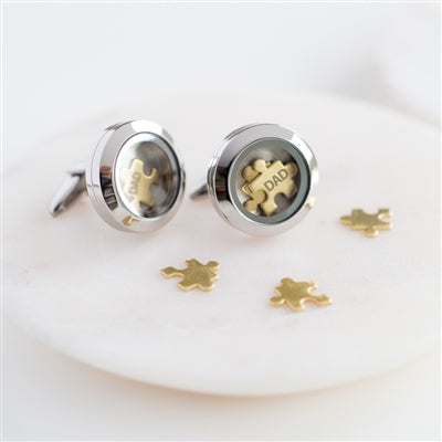 Dad 'I Love You To Pieces' Cufflinks Brass Puzzle Pieces Inside A silver Cufflink