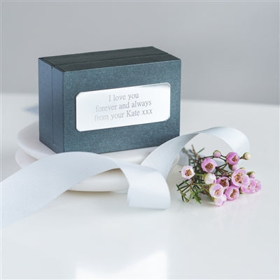 The cufflinks are presented with a mini card inside a grey gift box hand tied with grey ribbon
