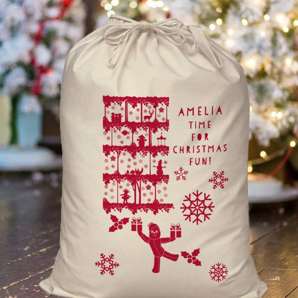 "In The Night Garden Beige Sack with Red Print and Text Christmas Fun Sack with ""AMELIA"" Personalised above the fixed text ""TIME FOR CHRISTMAS FUN"""