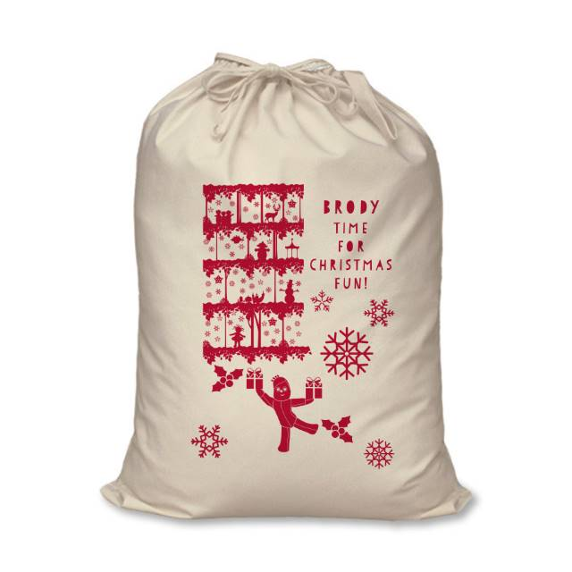 "In The Night Garden Beige and Red Christmas Sack with ""BRODY"" Personalised above the fixed text ""TIME FOR CHRISTMAS FUN"""