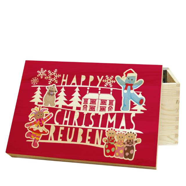 "Pine Wooden with Red lid with Text ""HAPPY CHRISTMAS"" In The Night Garden Christmas Eve Box"