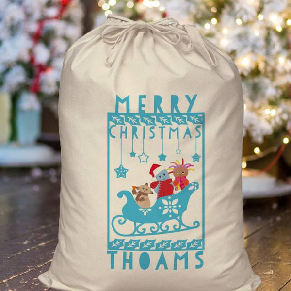 In The Night Garden Snowtime Sleigh themed Sack with Blue Pictures And Text