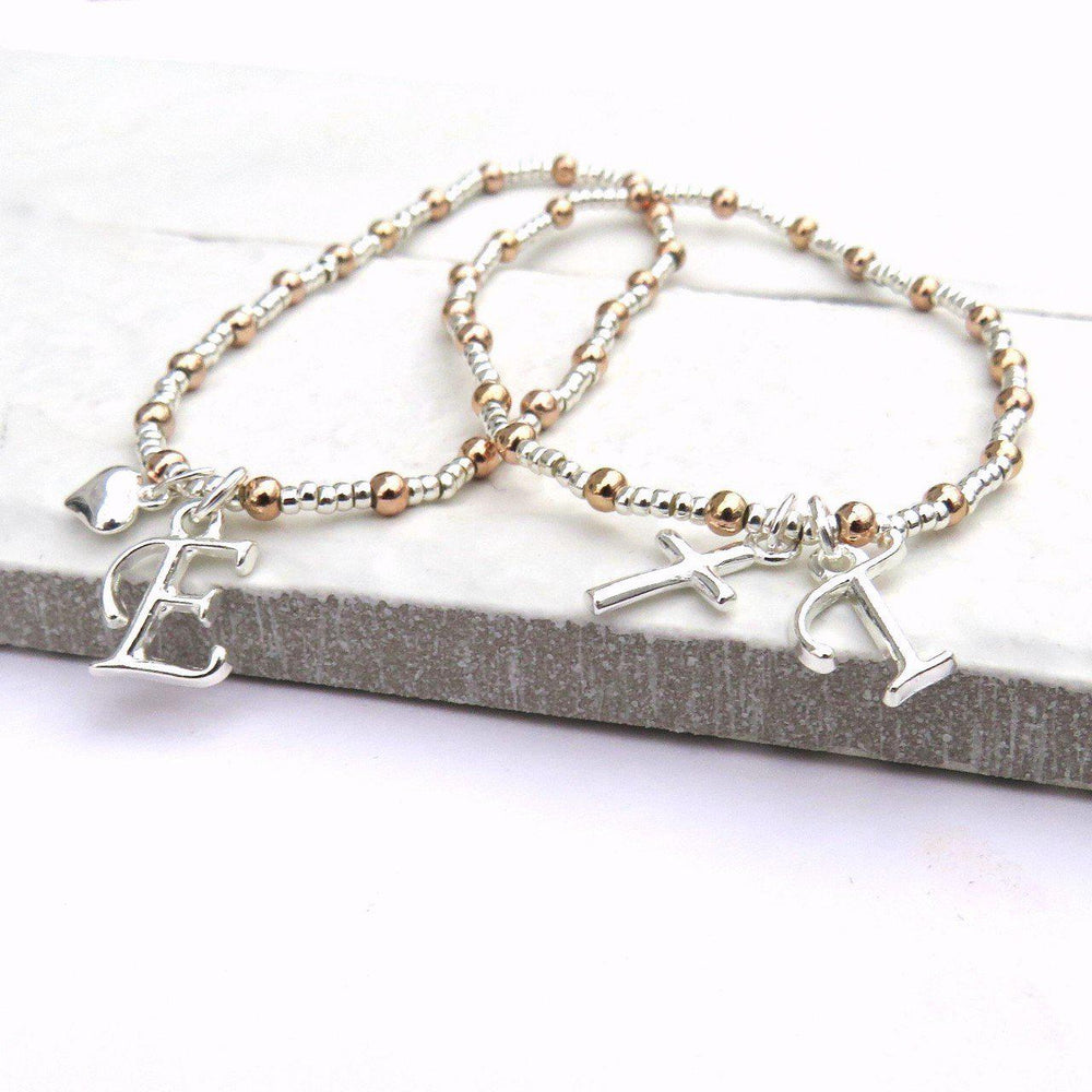 Initial Charm Silver & Rose Gold Bracelet