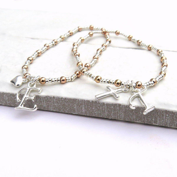 Initial Charm Silver & Rose Gold Bracelet - Bracelets Have A Heart And Letter E And A Cross With The Letter T