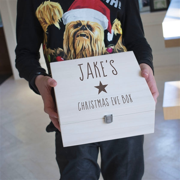 Kids Star Christmas Eve Box - A wooden personalised Christmas Eve box for kids with a name and star engraved on the front