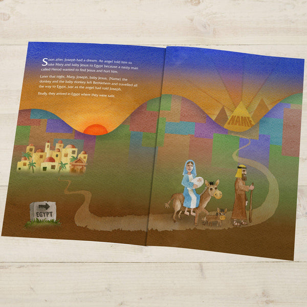 The Little Donkey and the Nativity Story - Egypt Illustration With Recipients Name Written On A Pyramid