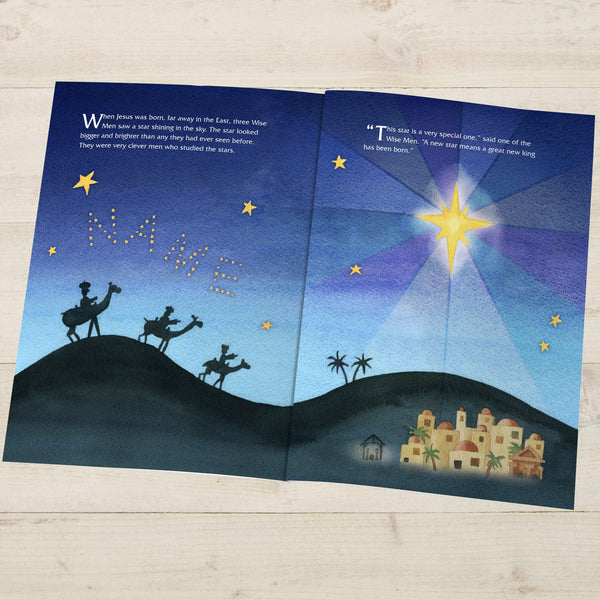 The Little Donkey and the Nativity Story - Three Wise Men Illustration With Recipients Name Written In Stars In The Night Sky