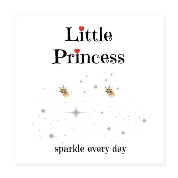 "Little Princess Earrings on Message Card - Card Reads Little Princess ""Sparkle Every Day"""
