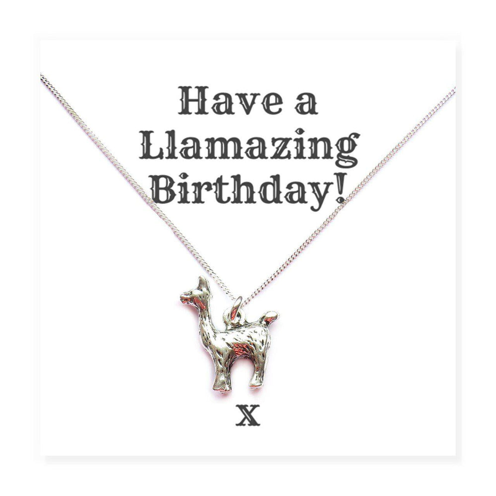 "Happy Birthday Llama Necklaces on Funny Message Card - Message Reads ""Have A Llamazing Birthday!"""