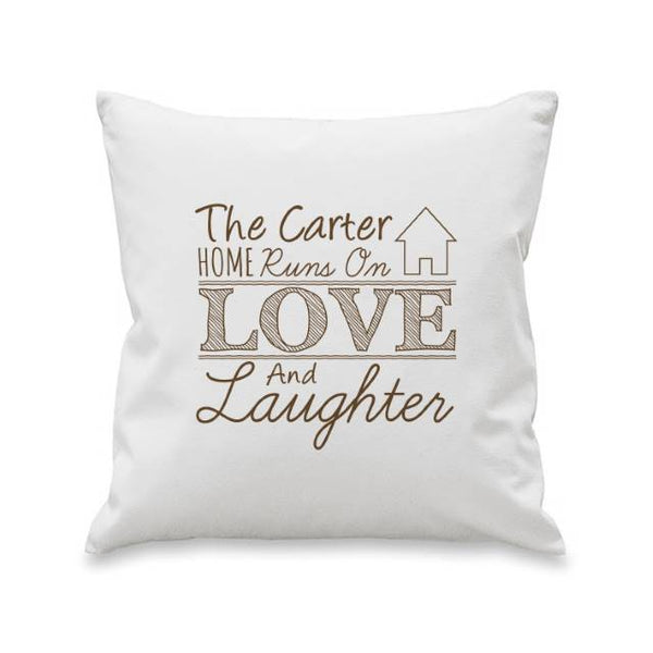 Love & Laughter Cushion - Personalised For The Carter Home