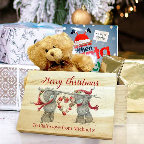 "Me To You Pine Christmas Heart Memory Box - Two Grey Teddy Bears Holding A Heart Underneath The Text ""Merry Christmas"""