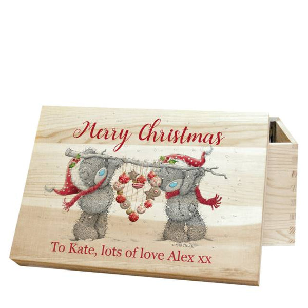 Me To You Christmas Heart Memory Box - Pine With Two Cute Teddy Bears Holding A Heart Above A Personal Message