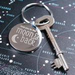 Love you to the moon and back keyring that can be personalised on the reverse