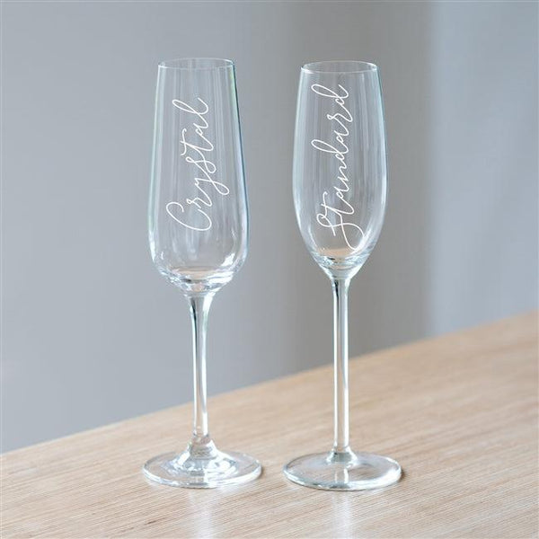 Mum Champagne Glass Showing The Difference In The Standard Option Compared To The Crystal Option