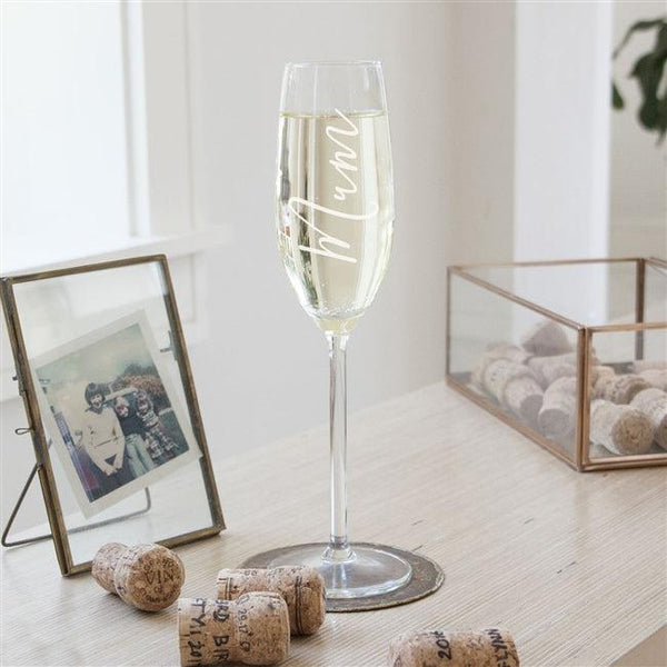 Mum Champagne Glass Engraved With mum Vertically
