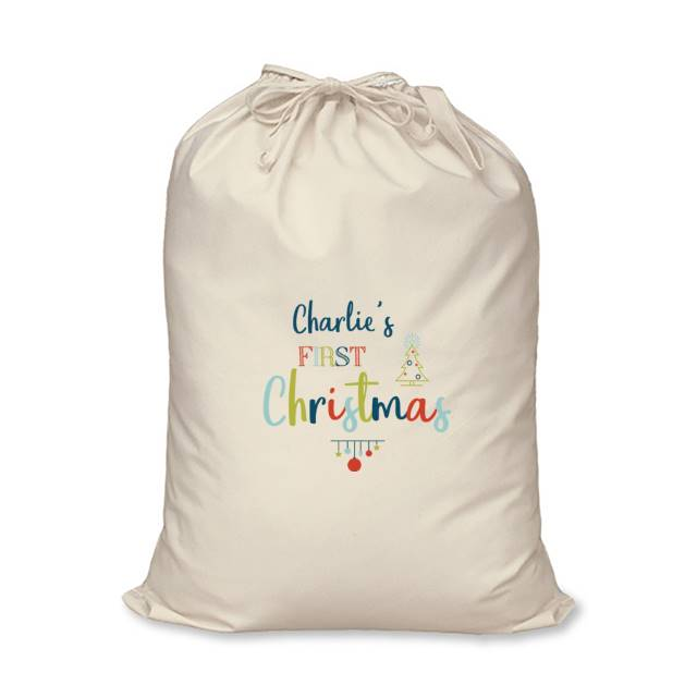 My First Christmas Cotton Sack - Charlie's Name Above The Multi Coloured First Christmas Text