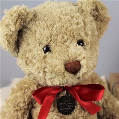 My 1st Christmas Bramble Bear Close Up Picture Of This Cute Bear And His Red Bow Tie Style Ribbon And Personalised Silver Tag