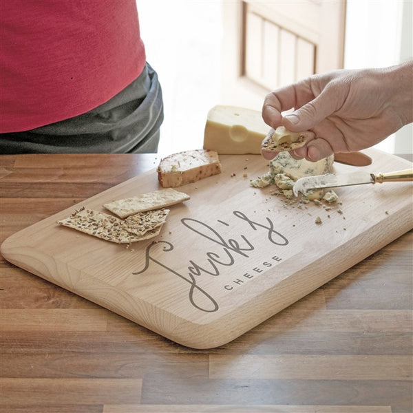 Name Cheeseboard - A solid beech wood cheeseboard engraved with any name in a stylish script font