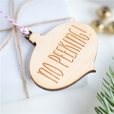 No Peeking Bauble Gift Tag - 10pk - Attached To A Present
