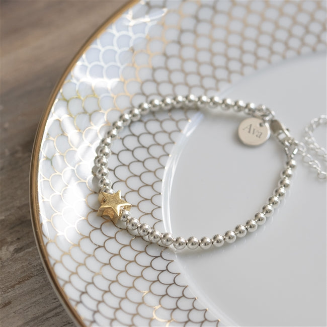 North Star Sterling Silver Beaded Bracelet Featuring A Gold North Star And A Name Pendant