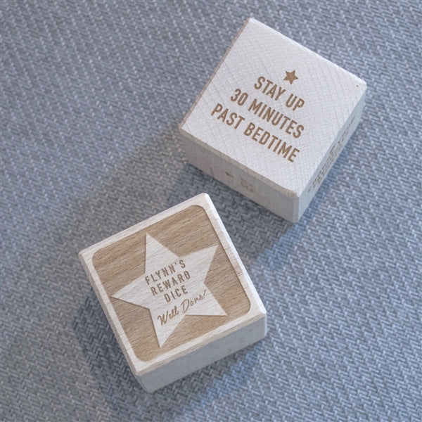 "Personalised Reward Dice - Reward Reads ""Stay Up 30 Minutes Past Bedtime"""