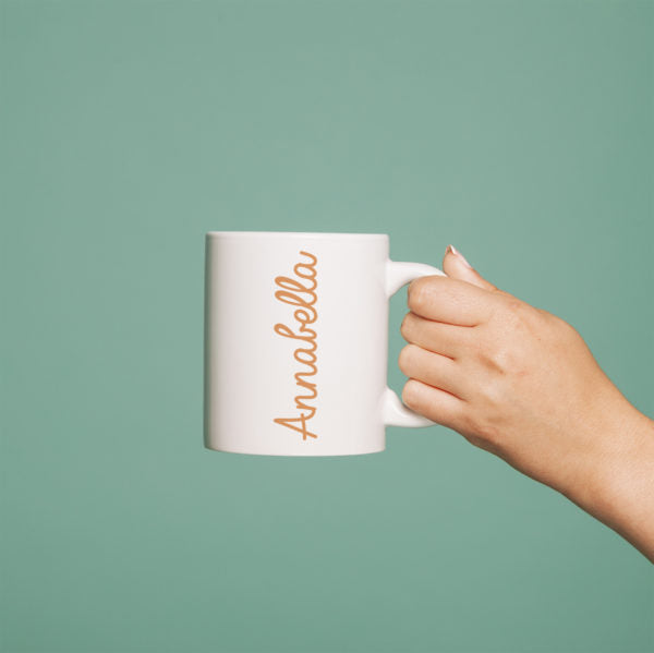 Coloured Name White Mug - Orange Annabella Text