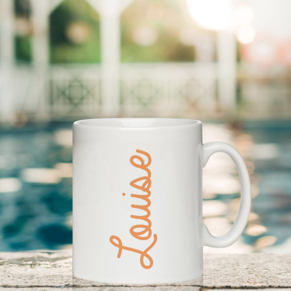 Coloured Name White Mug - Orange Louise Text