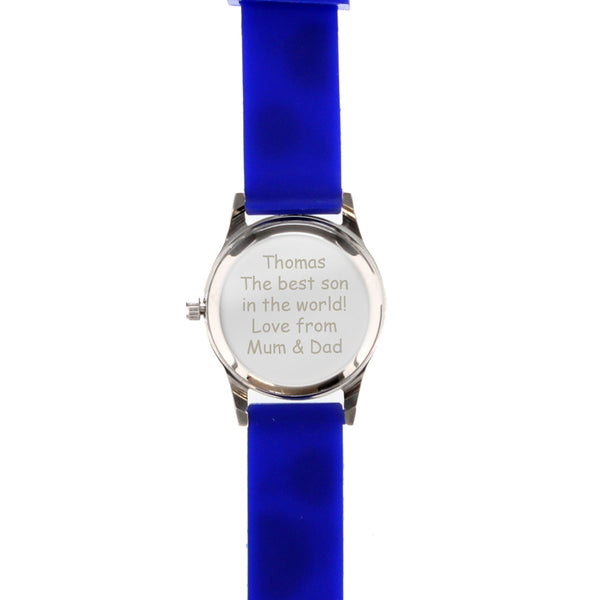 Personalised Kids Blue Time Teacher Watch with Presentation Box -  Pictures Shows Personalised Text On The Rear Of The Watch Face