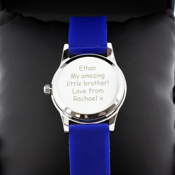 Personalised Kids Blue Time Teacher Watch with Presentation Box = Close Up Of Personalised Text