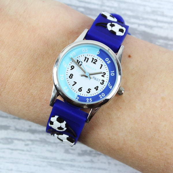 Personalised Kids Blue Time Teacher Watch with Presentation Box - Adorned by A Model
