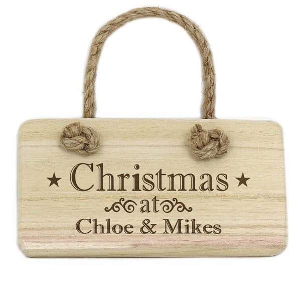 Personalised Christmas Wooden Sign - Personalised For Chloe &  Mikes