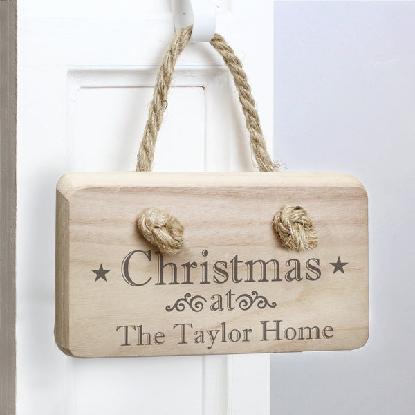 "Personalised Christmas Wooden Sign With Fixed Text ""Christmas At"" With A Personalised Line Underneath"
