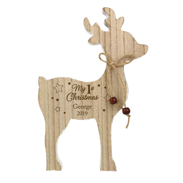Personalised '1st Christmas' Rustic Wooden Reindeer Decoration -  Fixed Text Reads