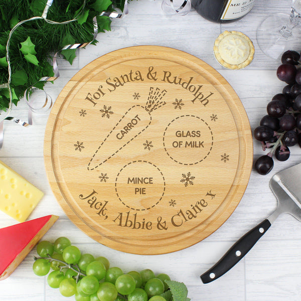 Personalised Christmas Eve Round Treats Board -  Board Features Spaces For Milk - Mince Pie & Carrot