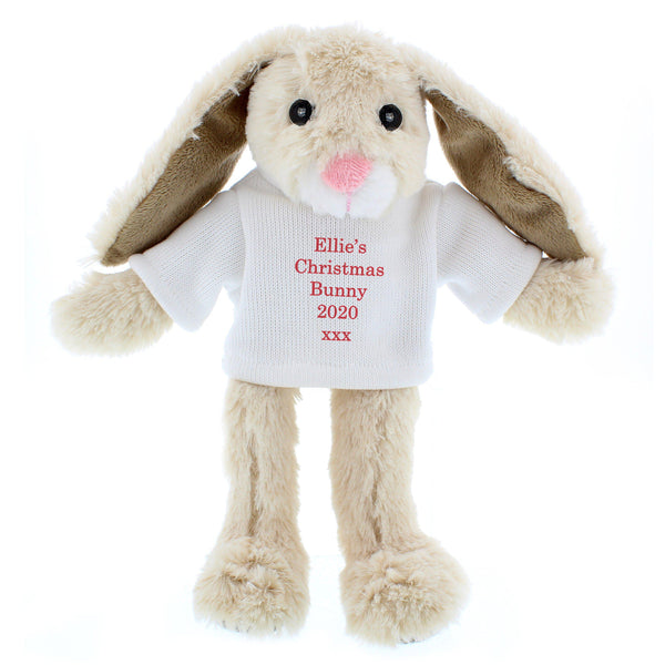 Personalised Christmas Bunny Rabbit - Red - Personalised For Ellie