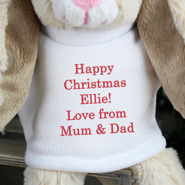 Personalised Christmas Bunny Rabbit - Red - Close Up Of Personalisation