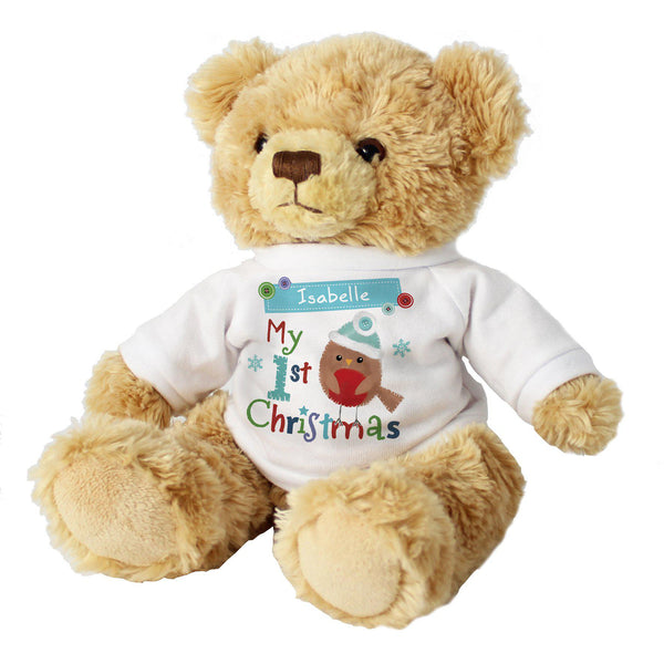 Personalised Felt Stitch Robin 'My 1st Christmas' Teddy Bear - Close Up Of Teddy