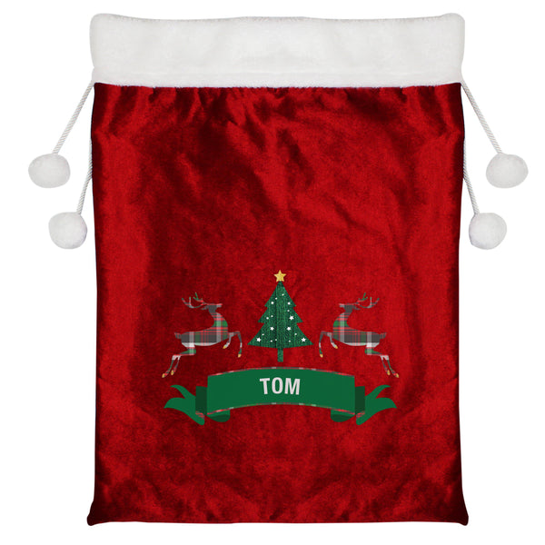 Personalised Nordic Christmas Luxury Pom Pom Red Sack -  Personalised For Tom