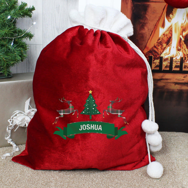 Personalised Nordic Christmas Luxury Pom Pom Red Sack -  Reindeers Either Side Of A Christmas Tree