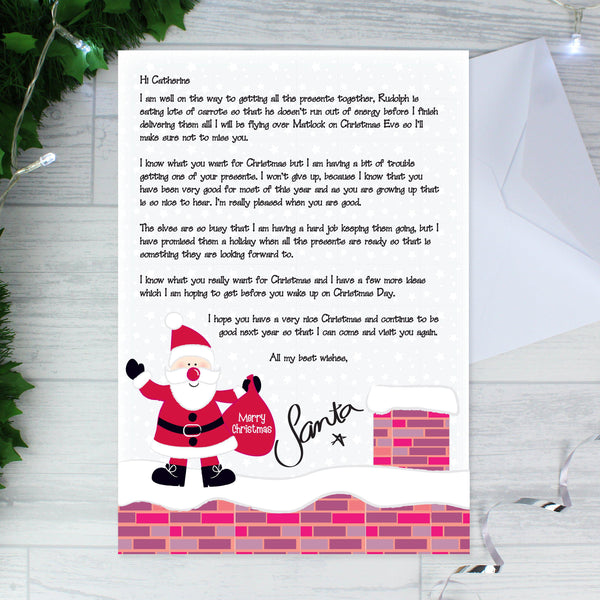 Personalised Rooftop Santa Letter - Features Santa On A Rooftop On Christmas Eve At The Foot Of The Letter
