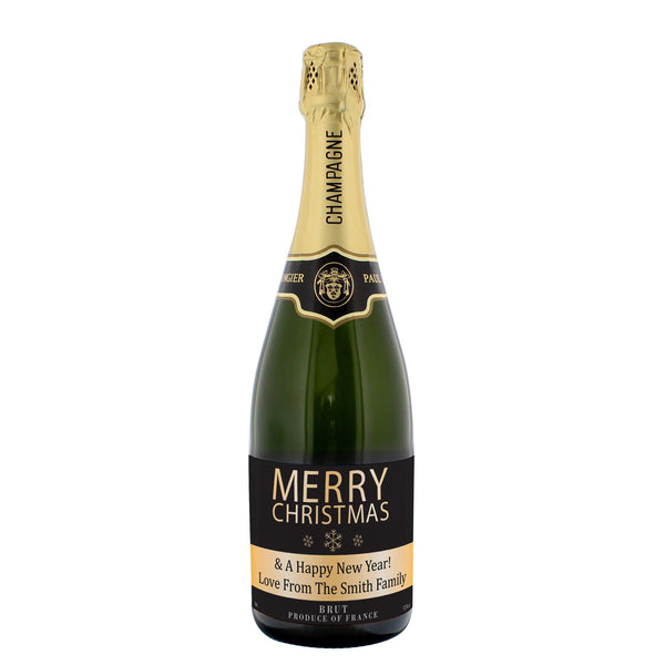 Personalised Merry Christmas Champagne - Brut